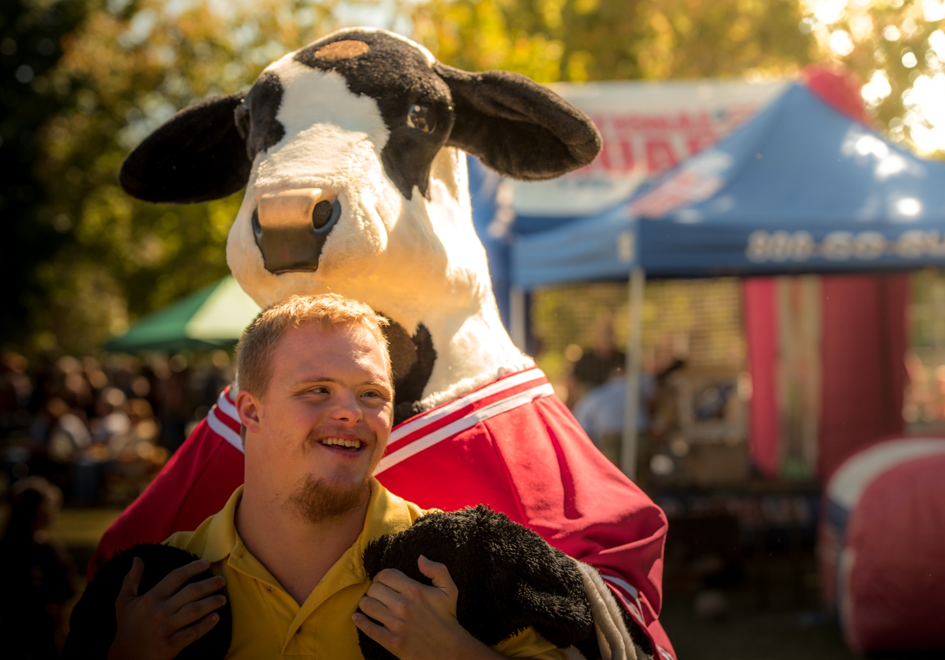 down syndrome and cow mascot